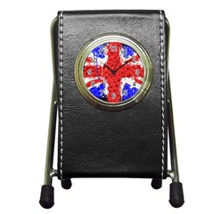 Distressed British Flag Bling Stationery Holder Clock
