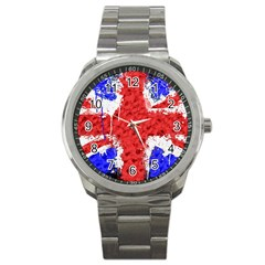 Distressed British Flag Bling Stainless Steel Sports Watch (Round)