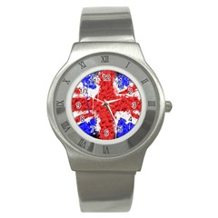 Distressed British Flag Bling Stainless Steel Watch (Round)