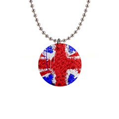 Distressed British Flag Bling Mini Button Necklace