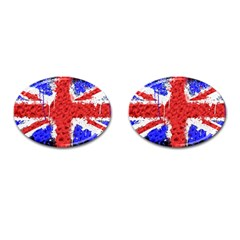 Distressed British Flag Bling Oval Cuff Links