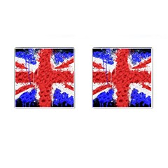 Distressed British Flag Bling Square Cuff Links