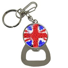 Distressed British Flag Bling Key Chain with Bottle Opener