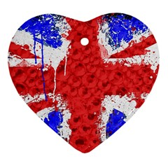 Distressed British Flag Bling Heart Ornament (two Sides)