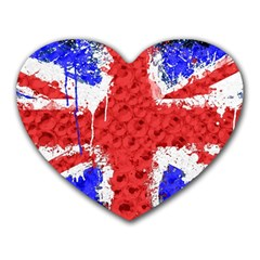 Distressed British Flag Bling Mouse Pad (Heart)