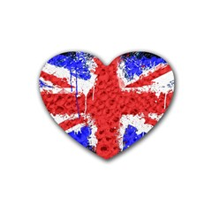 Distressed British Flag Bling 4 Pack Rubber Drinks Coaster (Heart)
