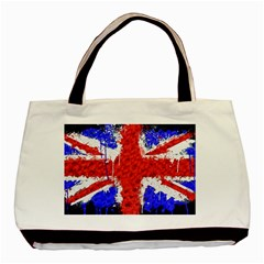 Distressed British Flag Bling Twin-sided Black Tote Bag