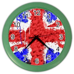 Distressed British Flag Bling Colored Wall Clock