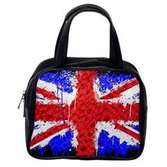Distressed British Flag Bling Single Sided Satchel Handbag