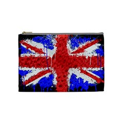Distressed British Flag Bling Medium Makeup Purse
