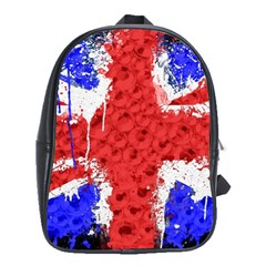 Distressed British Flag Bling Large School Backpack
