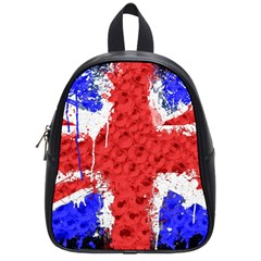 Distressed British Flag Bling Small School Backpack