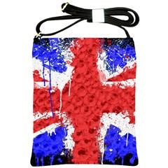 Distressed British Flag Bling Cross Shoulder Sling Bag