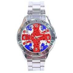 Distressed British Flag Bling Stainless Steel Analogue Watch (Round)