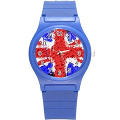 Distressed British Flag Bling Round Plastic Sport Watch Small