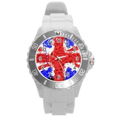 Distressed British Flag Bling Round Plastic Sport Watch Large