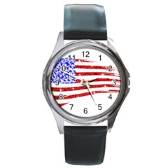 Sparkling American Flag Black Leather Watch (Round)