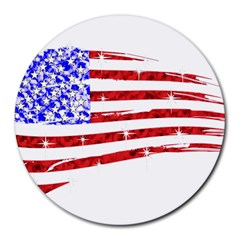 Sparkling American Flag 8  Mouse Pad (Round)