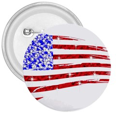 Sparkling American Flag Large Button (Round)