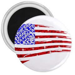 Sparkling American Flag Large Magnet (Round)
