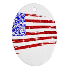 Sparkling American Flag Ceramic Ornament (Oval)