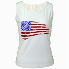 Sparkling American Flag White Womens  Tank Top