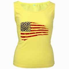 Sparkling American Flag Yellow Womens  Tank Top