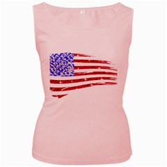 Sparkling American Flag Pink Womens  Tank Top