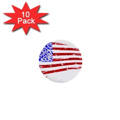 Sparkling American Flag 10 Pack Mini Button (round)
