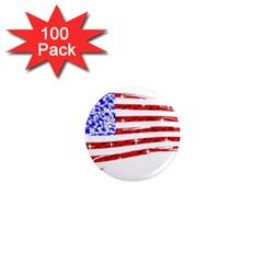 Sparkling American Flag 100 Pack Mini Magnet (Round)