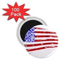 Sparkling American Flag 100 Pack Small Magnet (Round)