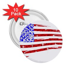 Sparkling American Flag 10 Pack Regular Button (Round)