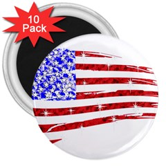 Sparkling American Flag 10 Pack Large Magnet (Round)