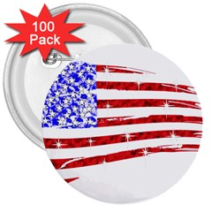 Sparkling American Flag 100 Pack Large Button (Round)