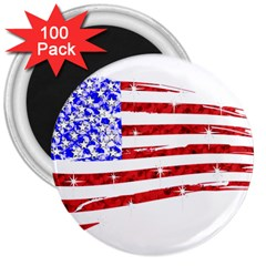 Sparkling American Flag 100 Pack Large Magnet (Round)