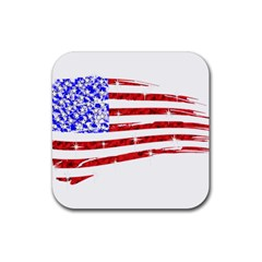 Sparkling American Flag 4 Pack Rubber Drinks Coaster (Square)