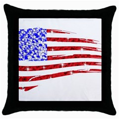 Sparkling American Flag Black Throw Pillow Case