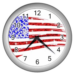 Sparkling American Flag Silver Wall Clock