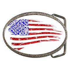 Sparkling American Flag Belt Buckle (oval)