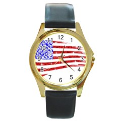 Sparkling American Flag Black Leather Gold Rim Watch (Round)