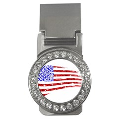 Sparkling American Flag Money Clip With Gemstones (round)