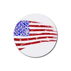 Sparkling American Flag Rubber Drinks Coaster (Round)