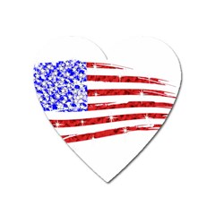 Sparkling American Flag Large Sticker Magnet (Heart)