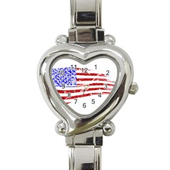 Sparkling American Flag Classic Elegant Ladies Watch (Heart)