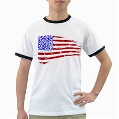 Sparkling American Flag White Ringer Mens'' T-shirt