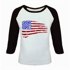 Sparkling American Flag Long Sleeve Raglan Womens'' T-shirt