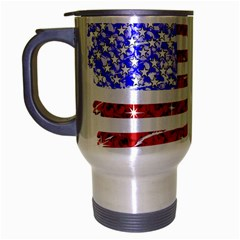Sparkling American Flag Brushed Chrome Travel Mug