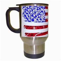 Sparkling American Flag White Travel Mug