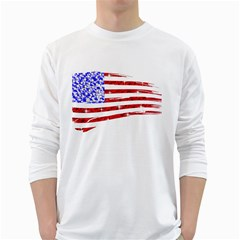 Sparkling American Flag White Long Sleeve Man''s T-shirt