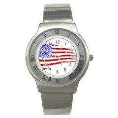 Sparkling American Flag Stainless Steel Watch (Round)